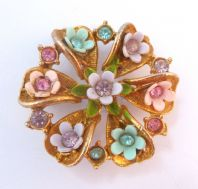 Vintage Celluloid Flower And Rhinestone Studded Brooch.